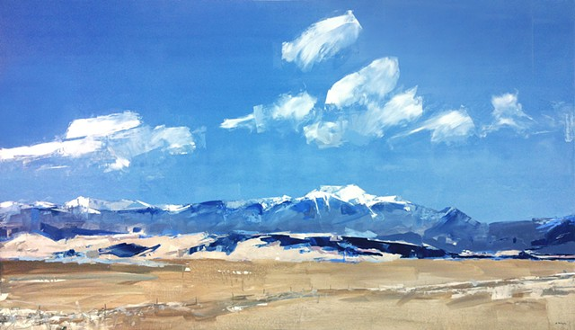 "'Mt. Herard of the Sangre de Cristo' San Luis Valley, Colorado.  48""x84"" Oil on wood   Commission painting purchased by TriZetto Healthcare."