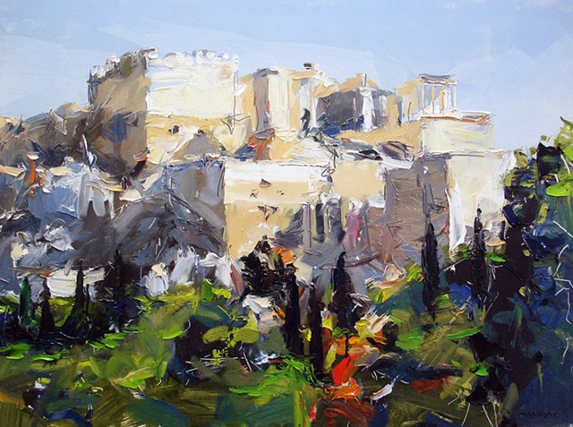 "'Mars Hill looking toward the Acropolis.  Athens, Greece.' 18""x24"" Oil on wood"