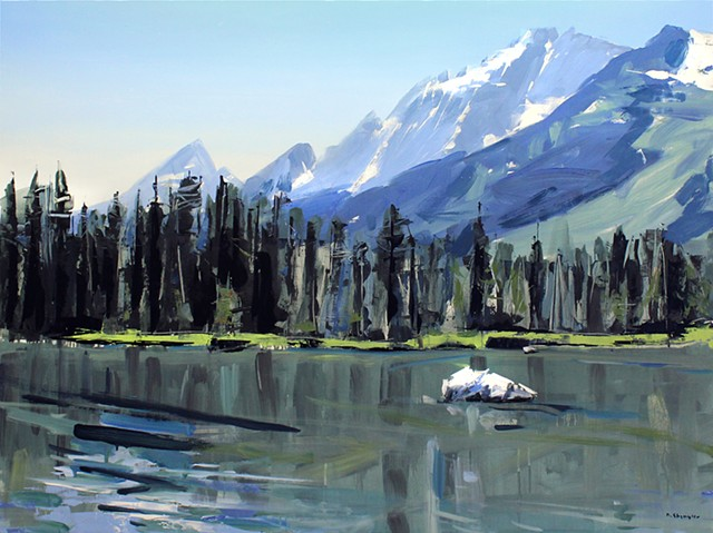"'Grand Tetons. Lake' 30""x40"" Oil on wood"
