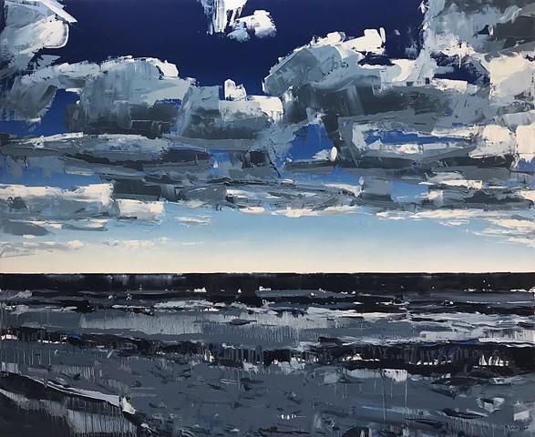 """'Ocean Sky'  40""""x48"""" Oil on wood"""
