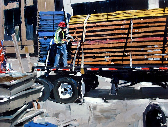 "'Man on Truck. Denver Construction'  24""x32"" oil on wood"