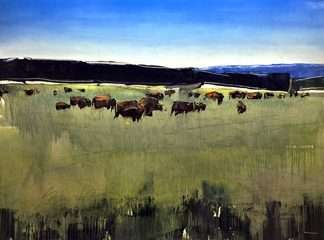 "'Buffalo Herd, Wyoming'  30""x40"" Oil on wood"