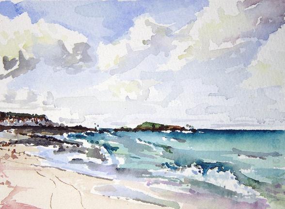"Bahamas. South beach  5""x7"" Watercolor"