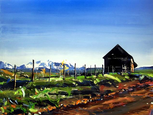 "'Old Barn #2. Telluride, CO' 27""x36"" Oil on wood"