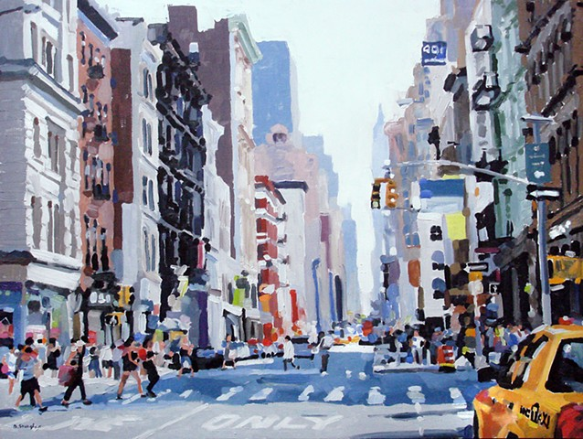 "New York City #2  24""x32"" Oil on wood"