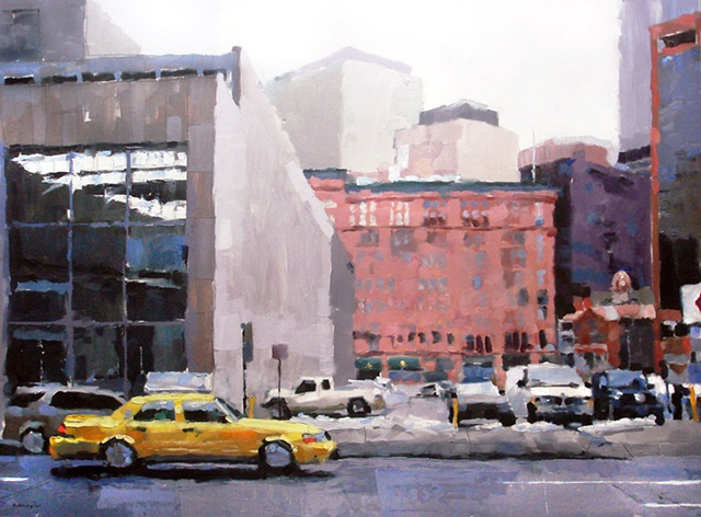 "'Taxi. Denver Cityscape' Colorado. 30""x40"" Oil on wood"