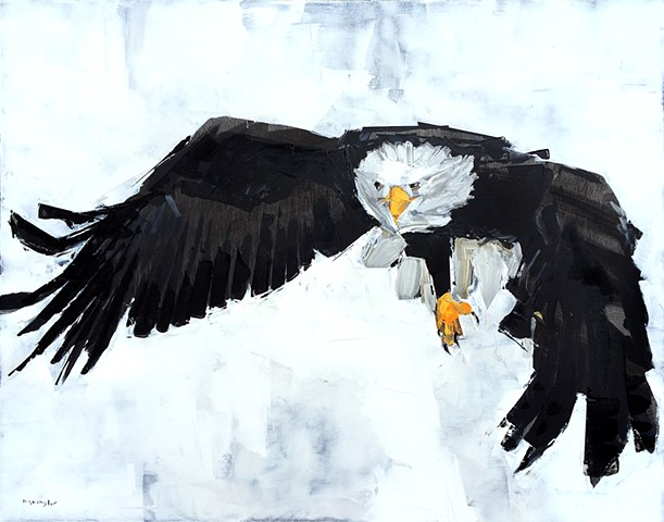"'Eagle ' 24""x30"" Oil on wood"