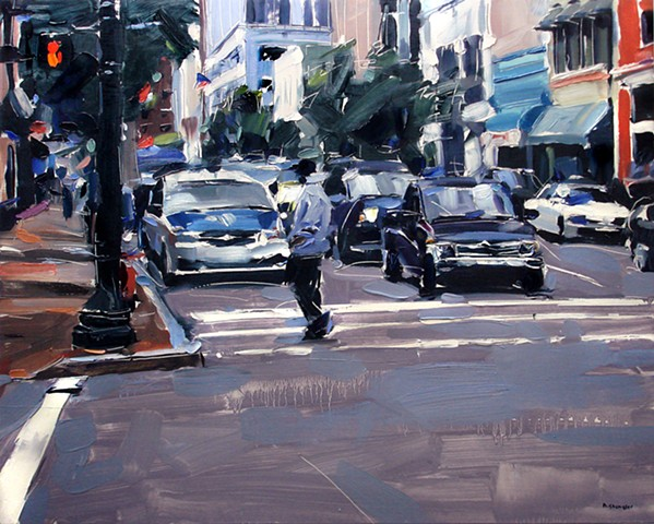 "'Man walking. Raleigh city'  24""x30"" Oil on wood"