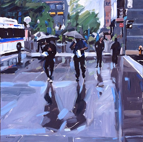"'Denver Cityscape Rain' 24""x24"" Oil on wood"