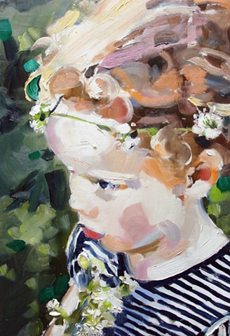 "Portrait: 'Margot'  13""x19"" Oil on wood"