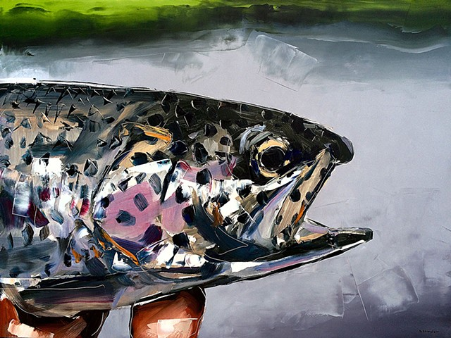 "'Rainbow Trout' 30""x40"" Oil on wood"