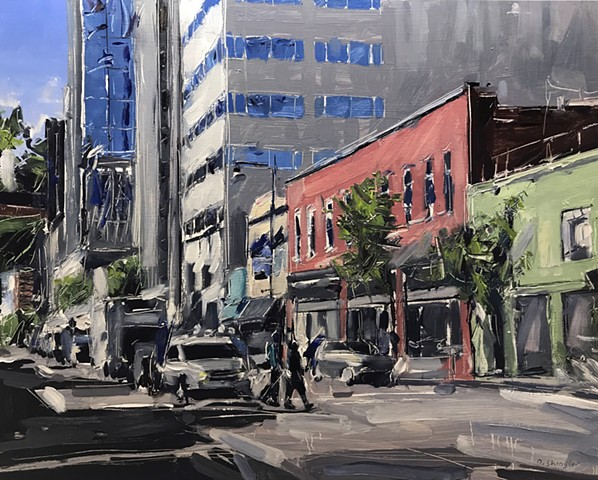 "'S. Wilmington St. Raleigh, NC' 24""x30"" Oil on wood"