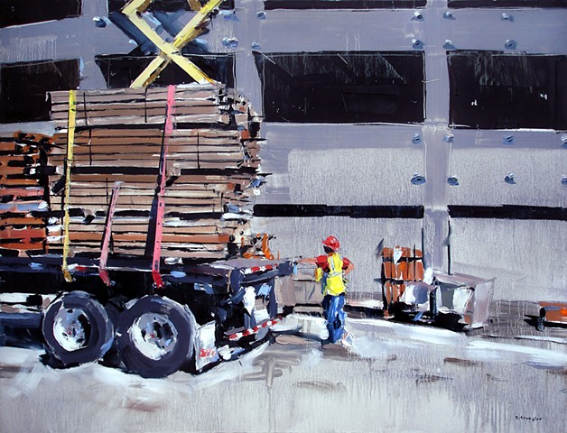 "'Unloading Truck'  24""x32"" Oil on wood"