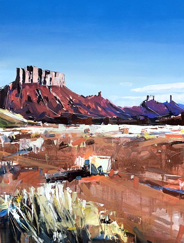 "'Moab Plateaus. Utah'  36""x48"" Oil on wood"