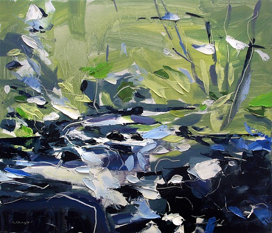 "'Small River, Smokey Mountains' 12""x14"" Oil on wood."