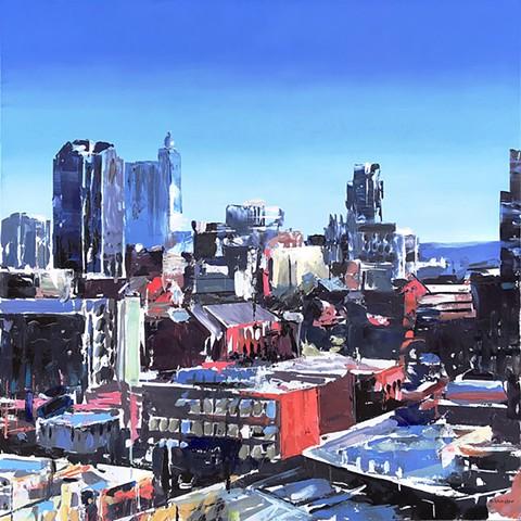 """'Raleigh Skyline'  36""""x36"""" Oil on wood"""