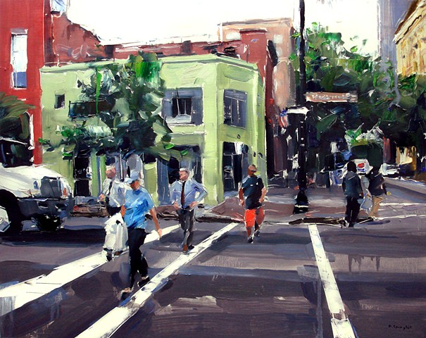 "'Corner of Hargett & Wilmington St. Raleigh' 24""x30"" Oil on wood"