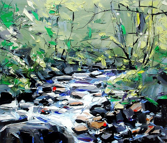 "'Small River. Smokey Mountains. NC' 12""x14"" Oil on wood"