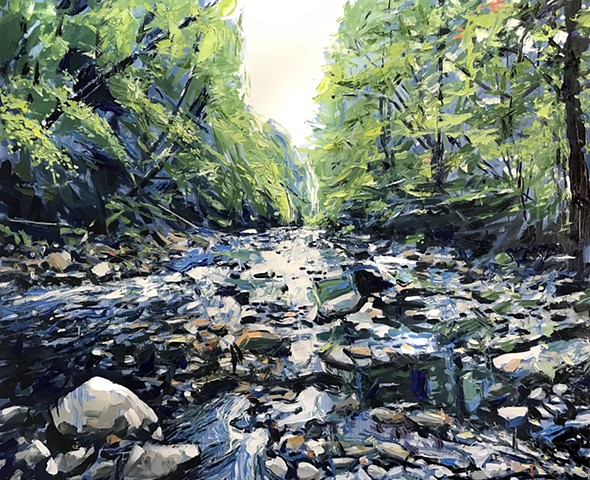 "'West Fork Pigeon River. North Carolina' 40""x48"" Oil on wood."