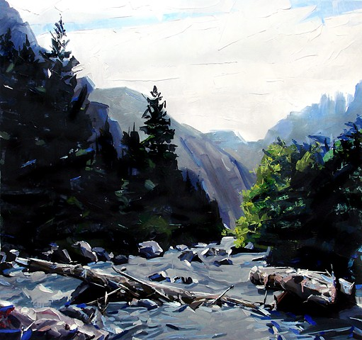 "'Clear Creek Canyon. Golden, Colorado' 45""x48"" Oil on wood"