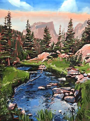 "'Dream Lake. RMNP. CO'  48""x36"" Oil on wood"