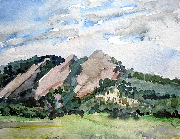 "Boulder, Colorado. 3 Flat Irons 7""x8"" Watercolor"