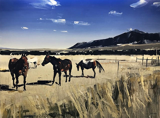 "'Grazing Horses. Red Lodge. MT'  36""x48"" Oil on wood"