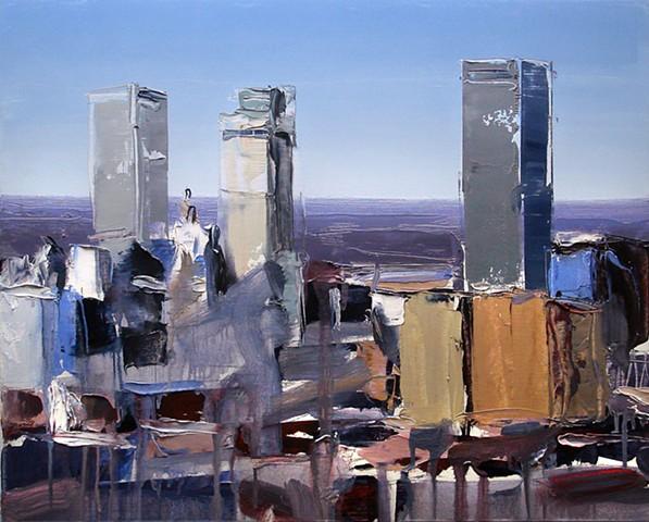 "'Downtown Tulsa Oklahoma' 16""x20"" Oil on wood"