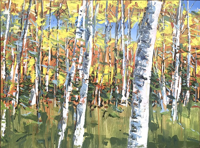 "'Fall Aspens. Colorado'  36""x48"" Oil on wood"