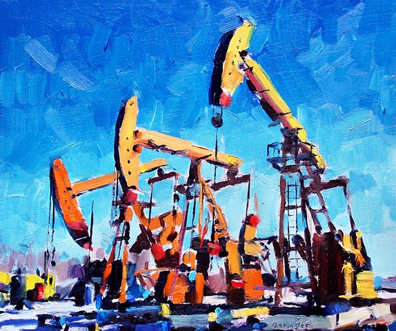 "Oil pumps. 10""x12"" Oil on wood"