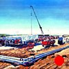 "'Natural Gas Plant. Eagle Ford, Texas'  Commission Painting purchased by SM Energy. Houston Texas.   60""x96"" Oil on wood"