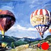 "Exempla Cardiovascular Healthcare Clinic  'Colorado hot air Balloons' 18""x24"" Oil on wood"