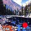 "'Blue River. Colorado' 48""x48"" Oil on wood."