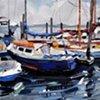 "'Boats in Beaufort'  12""x14"" Oil on wood"