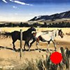 "'Dancing Horses. Red Lodge Montana' Oil on wood. 30""x40"" Oil on wood"