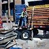 "'Man on Truck. Denver Construction'  24""x32"" oil on wood"