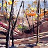 """'Fall at Stone Mountain' 12""""x14"""" Oil on wood."""