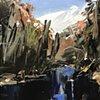 "'Linville Falls. Elkin NC' 11""x14"" Oil on wood"