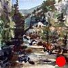 """Colorado. Boulder Creek  6""""x6"""" Watercolor"""