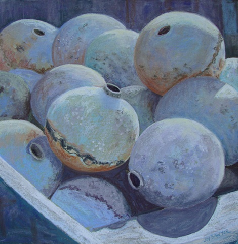 Pastel painting of mooring balls stored for the winter, Kingston MA