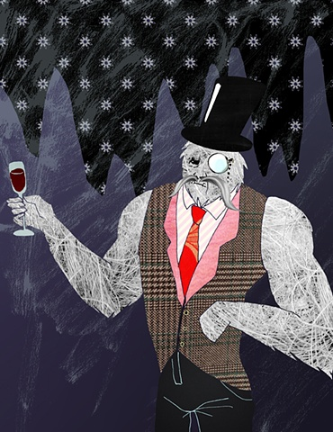 yeti magazine tallahassee florida cover art photoshop digital sasquatch bigfoot texture lulzsec tophat monocle vest wine snow hairy