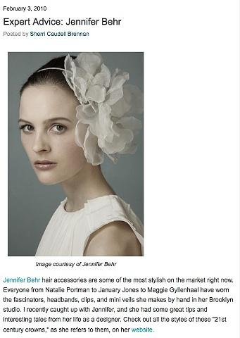 The Bride's Guide Blog: Martha Stewart Weddings  Expert Advice-Jennifer Behr February 2010  Image courtesy of Jennifer Behr