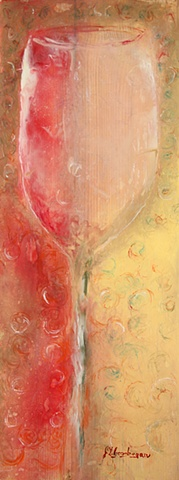 Encaustic wine glass.