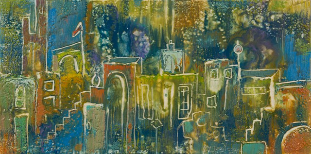 Fantasy village in encaustic.