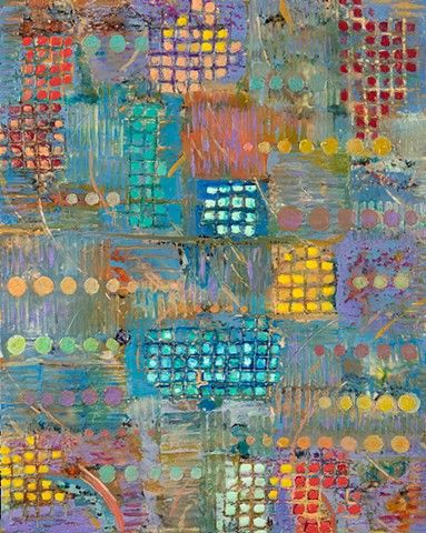 Encaustic with grids and circles.
