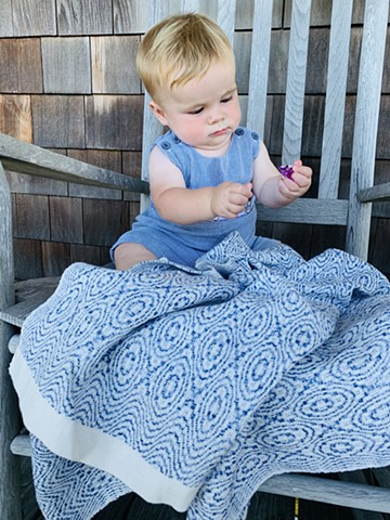"Handwoven ""Hugs and Kisses""  Baby Blanket (100% cotton)-variegated blue"