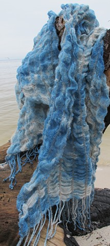 "Linen and wool collapsed weave scarf.  ""Indigo Clouds"""