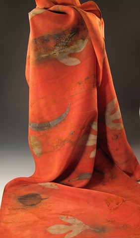 """Get Your Sassy On"" Eco-Dyed Scarf in Poppy Red"