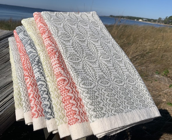 "Handwoven Towels-""Orange Peel"" overshot pattern (Sold Out))"