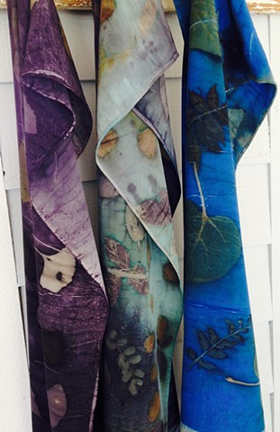 Hand dyed eco-print scarves have been elevated to a new level.